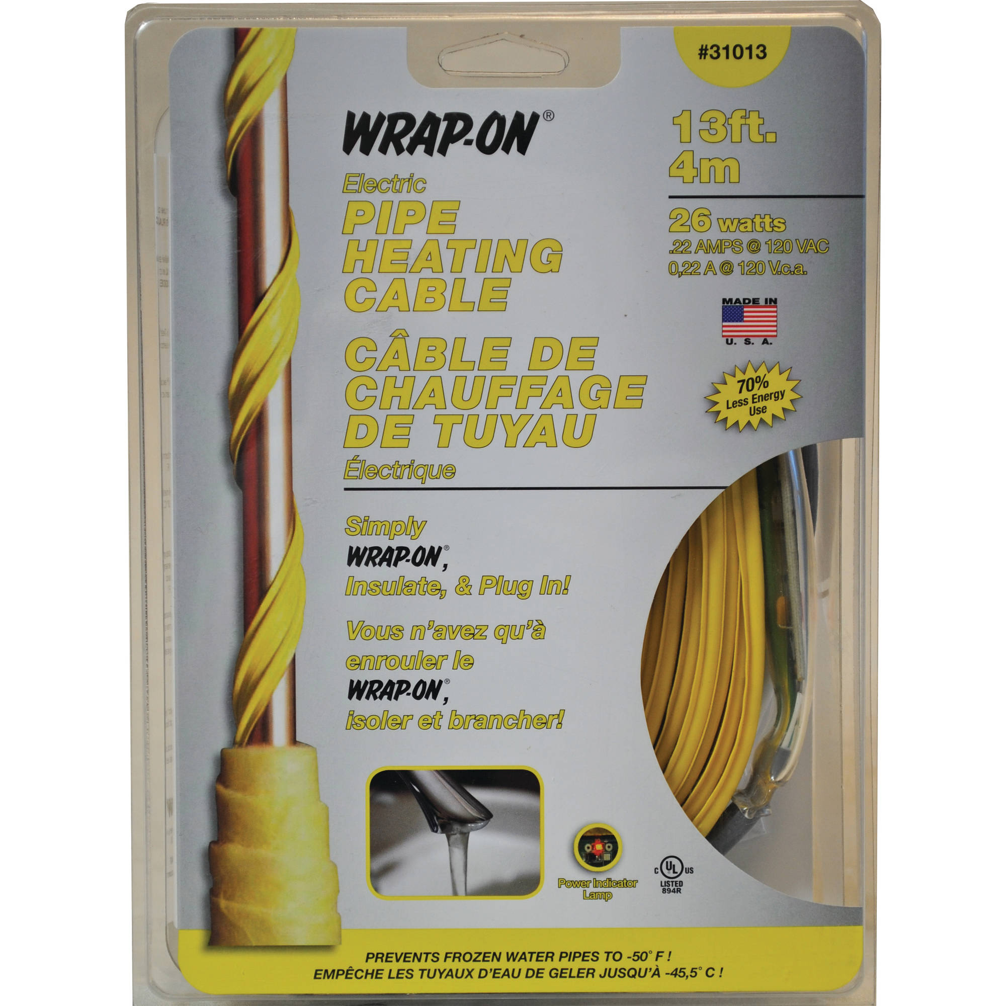 13' 120V Heat Tape Yellow W/Thermosta