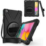 Galaxy Tab A 8.0 Case, KIQ Shockproof Heavy Duty Drop Protection Shield Cover Kickstand Handstrap Shoulderstrap Palmstrap For Samsung Galaxy Tab A 8in 2019 T290/T295 SM-T290 SM-T295 (BLACK)