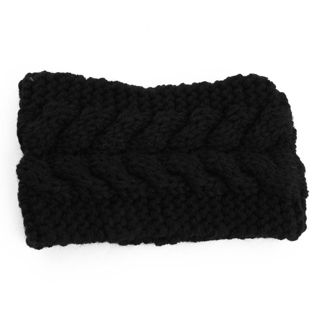 Woman Nylon Twist Braided knitted Head Wrap Hair Band Sports Ski Headband Black