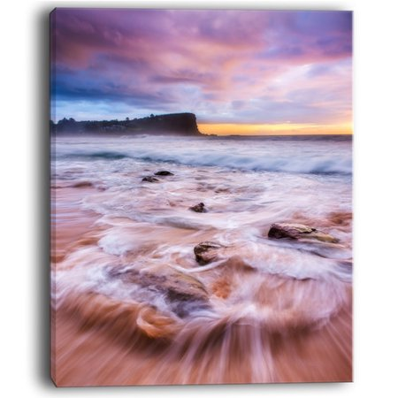 Design Art Fascinating Seashore with White Waters Large Seashore Photographic Print on Wrapped Canvas