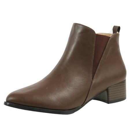 8d0c154a774b MAH Women s Faux Leather Elastic Side Panel Chelsea Ankle Boots Dress