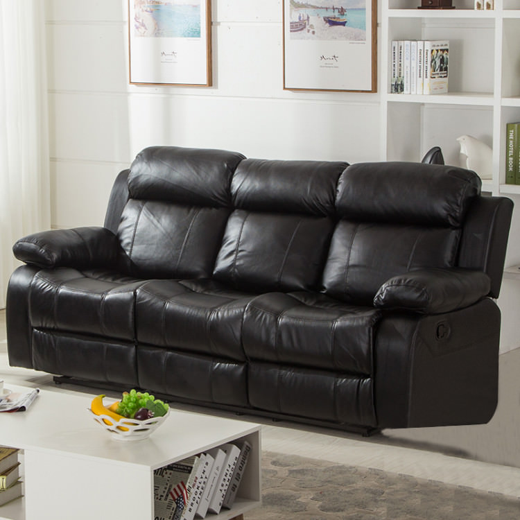 BLack PU Leather Double Recliner Sofa with Drop Down Table