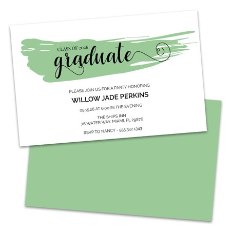 Paint Party Invitations (Personalized Paint Stripe Graduation Party)