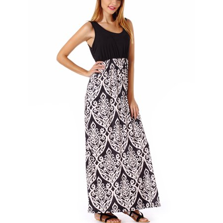 - Vintage Print Long Maxi Dress Women Summer Sundress Fit and Flare Sleeveless Bohemian Boho Beach Dress