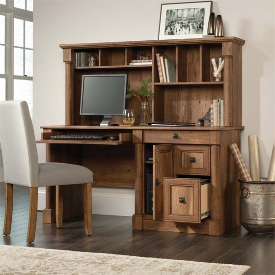 Sauder Palladia Computer Desk With Hutch Vintage Oak Finish
