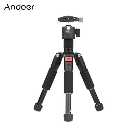 "Andoer K521 Portable 5-section Extendable Aluminum Alloy Tripod with Mini Ball Head Low Center of Gravity 1/4"" Screw Mount for Canon Nikon Sony DSLR ILDC Cameras Max. Load 5kg 50cm"