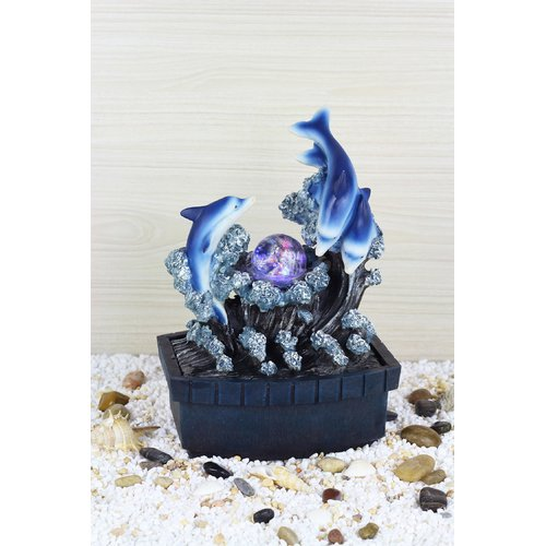 Highland Dunes Agustina Dolphin Fibreglass Table Fountain with LED Light by