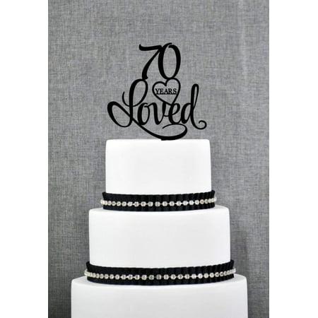 Tayyakoushi Birthday Cake Topper Vintage 70th Toppers Black