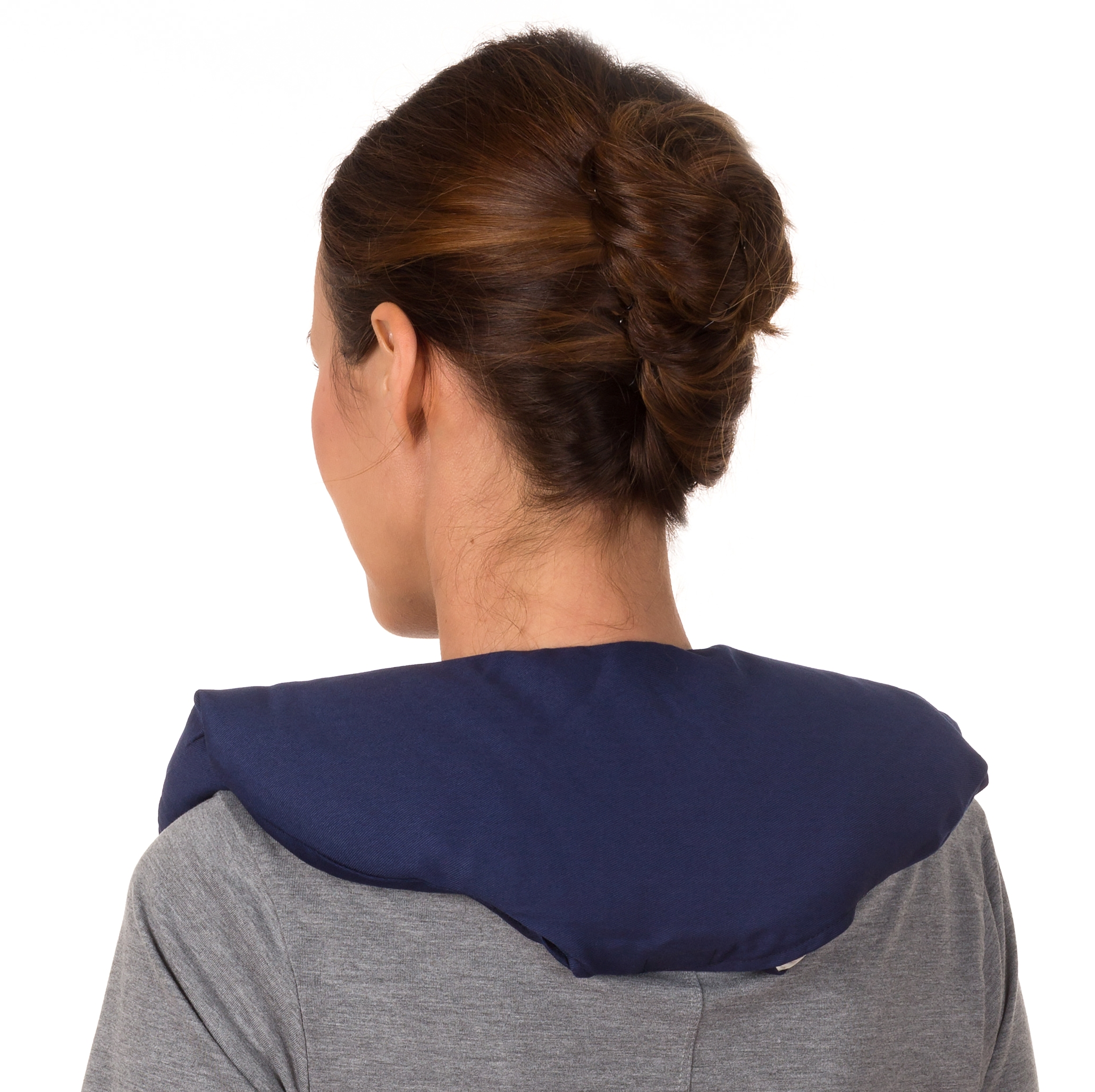Sunny Bay Microwavable Neck and Shoulder Heat Wrap, 100% Cotton Cover, Flax Seeds Filled, Large, Navy Blue