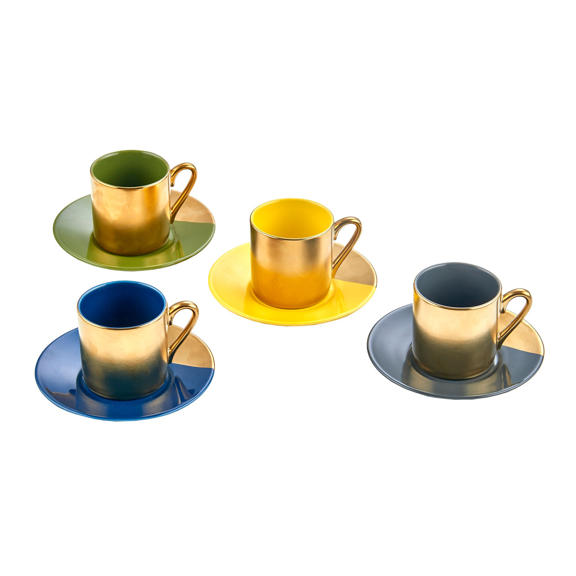 Yedi Houseware Classic Coffee and Tea Pastel & Gold Cups and Saucers, Set of 4