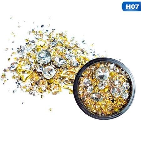 AkoaDa Stylish Mix Design Bead Nail Decoration Special Shape Crystal Diamond Nail Jewelry Diy Flat Sharp Drill Rhinestone Decoration Bead Mix Jewelry
