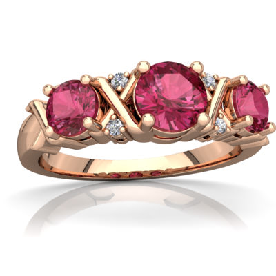 Pink Tourmaline Hugs and Kisses Ring in 14K Rose Gold by