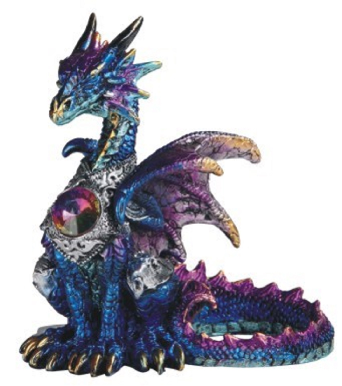Blue Dragon with Gem Statuette Figurine Mythical Fantasy Collectible Decoration by Home and Holiday Shops