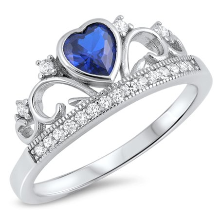 Sterling Silver Women's Flawless Blue Cubic Zirconia Tiara Princess Promise Heart Crown Ring (Sizes 4-10) (Ring Size 4)