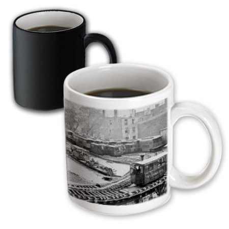(3dRose New York City Train on NY Elevated Railroad Yonkers Switch Station 1860s - Magic Transforming Mug, 11-ounce)