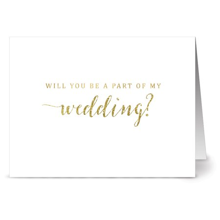 24 Note Cards - Gold A Part of My Wedding - Blank Cards - Gray Envelopes Included