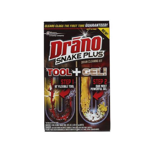 Drano Snake Plus Drain Cleaning Tool + Gel Kit, 1ct