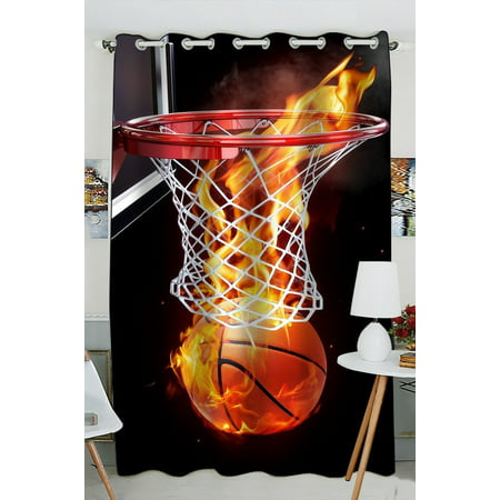 GCKG Flaming Basketball Blackout Curtains Window treatment Panel Drapes 52(W) x 84(H) inches (One Piece)