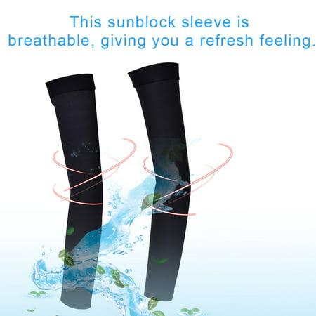 WALFRONT 1 paire adultes unisexes extérieures manches de protection contre le soleil couvrant le bras manchon noir, manches de cyclisme extérieures, manche de cyclisme - image 6 de 8
