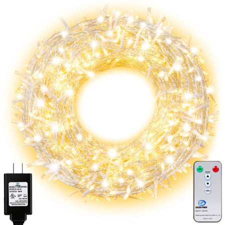 Ollny Outdoor String Lights 800 LEDs 330ft Fairy String Lights for Outdoor Indoor Christmas with Remote Control and Timer Plug in Wedding Party New Year Wall Decorative Lights Warm White 8 Modes Water ()