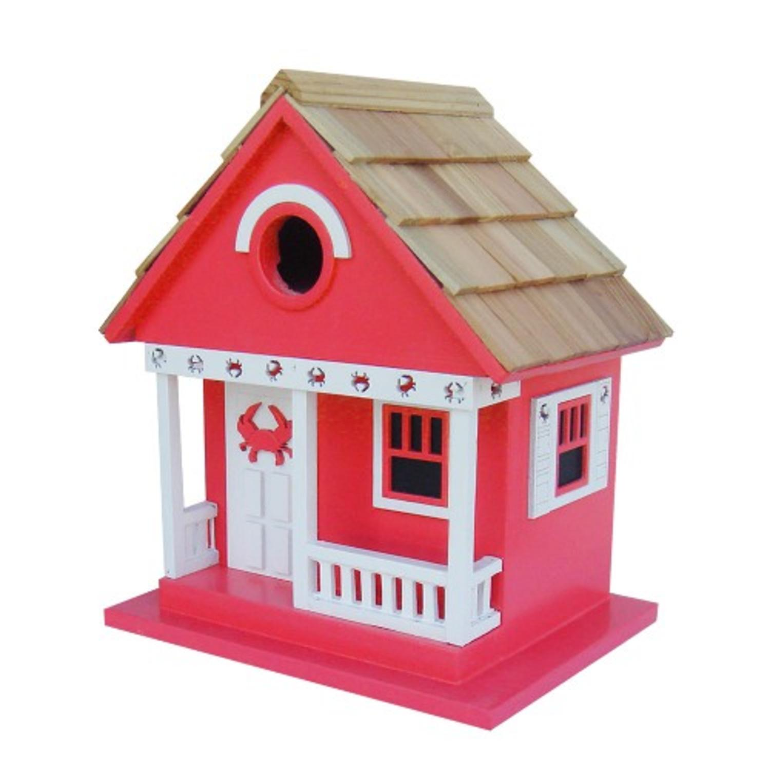 "9.5"" Fully Functional Whimsical Crab Cottage Architectural Birdhouse"