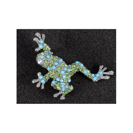 Beaded Turquoise Brooch (Crystal Elements Faux Turquoise Beaded Peridot Leaping Frog Pin)