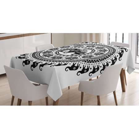 Elephant Mandala Tablecloth  Seven Royal Symbols And A Guardian Of Temples Spirit Animal Circle  Rectangular Table Cover For Dining Room Kitchen  60 X 90 Inches  Black And White  By Ambesonne