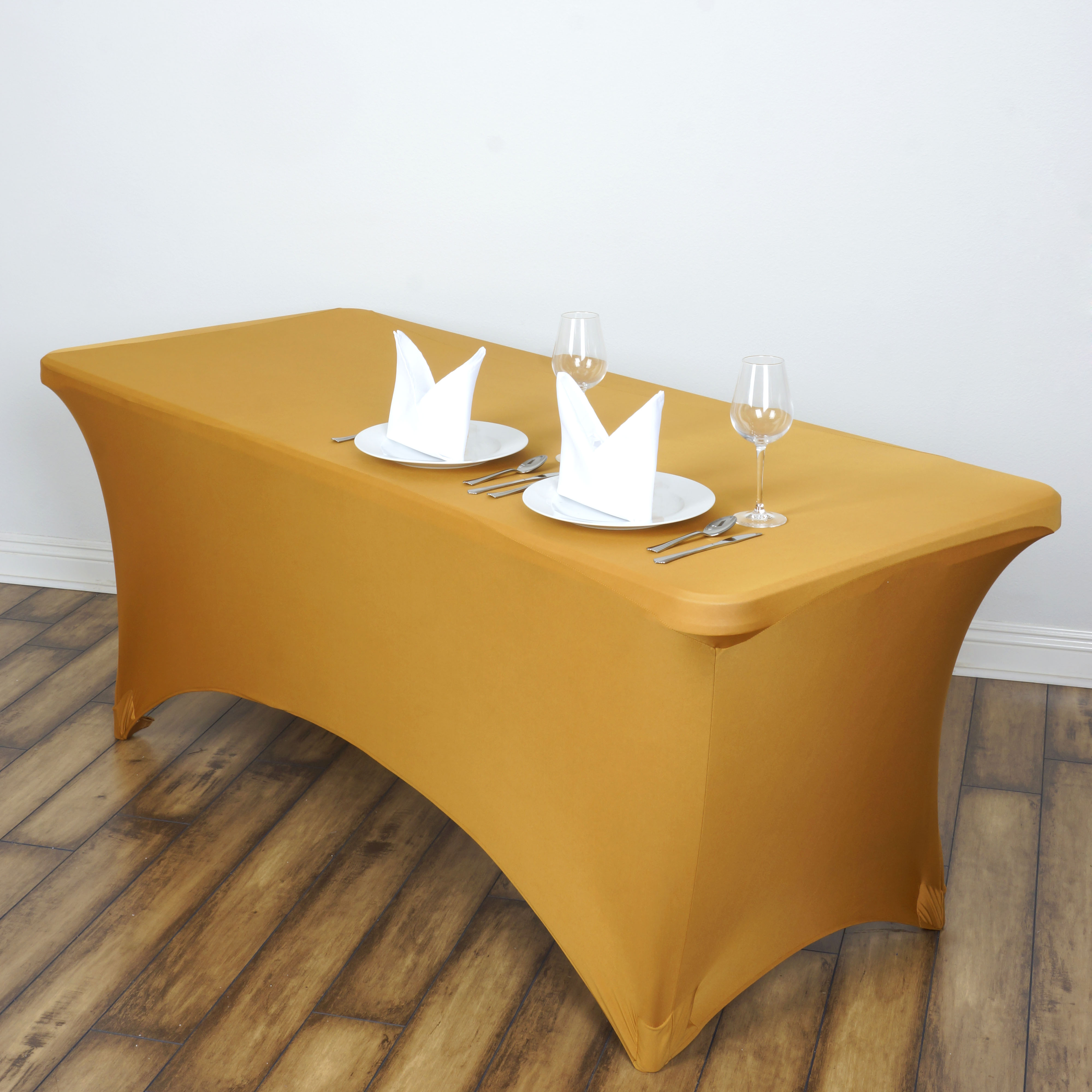 BalsaCircle 6 Feet Rectangular Spandex Fitted Elastic Tablecloth Wedding Party Trade Show Booth Table Linens Decorations
