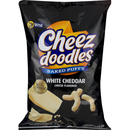 Wise Foods White Cheddar Cheese Doodles Baked Puffs 8.0 oz. Bag (3 Bags)