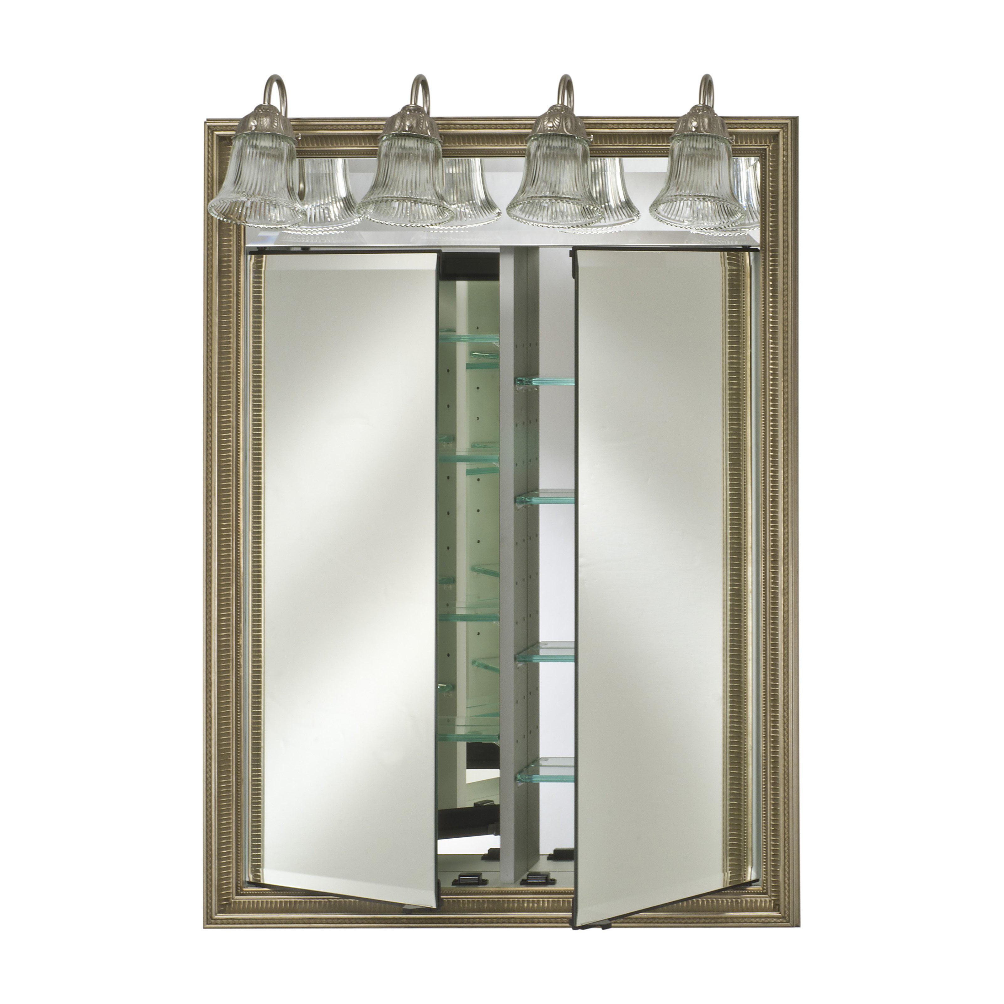 Afina Signature Contemporary Lighted Double Door 21W x 40H in. Recessed Medicine Cabinet