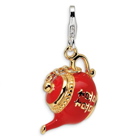 Roy Rose Jewelry Sterling Silver Amore la Vita Gold-plated Red Enameled Tea Pot w/Lobster Clasp Charm Antique Silver Tea Pot Charms