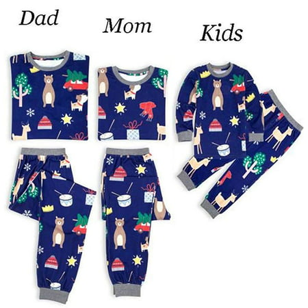 Mom Dad Kid Family Matching Clothes Long Sleeve and Pants Christmas Pajamas Set - Family Christmas Clothes