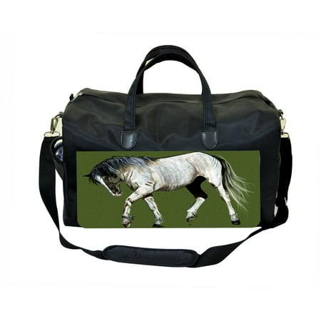 Vintage Style Horse Black Duffel Gym Bag