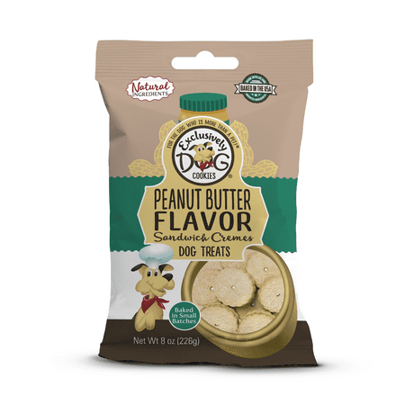 Flavor Sandwich Creme Dog Cookies - Exclusively Dog Cookies Peanut Butter Flavor Sandwich Cremes Dog Treats, 8 oz