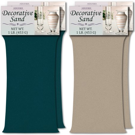 HeroFiber Colored Unity Sand (4 lbs.) - Teal and Grey - 2 lbs. per Color - Decorative Art Sand for Weddings, Vase Filling, Kids' Craft Play