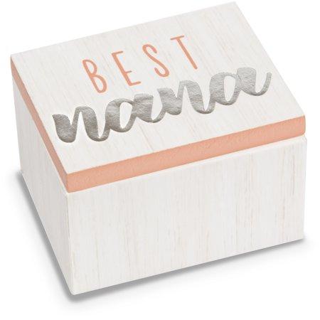 Pavilion - Best Nana - Pink & White Wood Patterned Mini Keepsake Jewelry Box 2.25