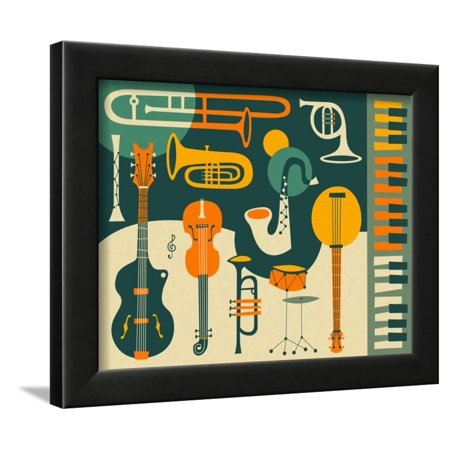 Just Jazz Music Instruments Retro Style Mid Century Modern