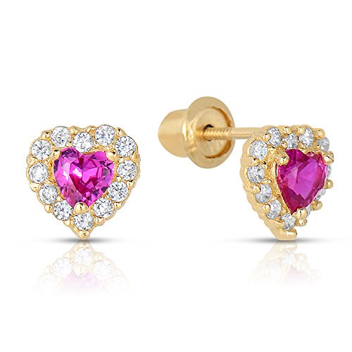 14k Yellow Gold SImulated Birthstone and CZ Halo Stud Heart Earrings for Girls (July)