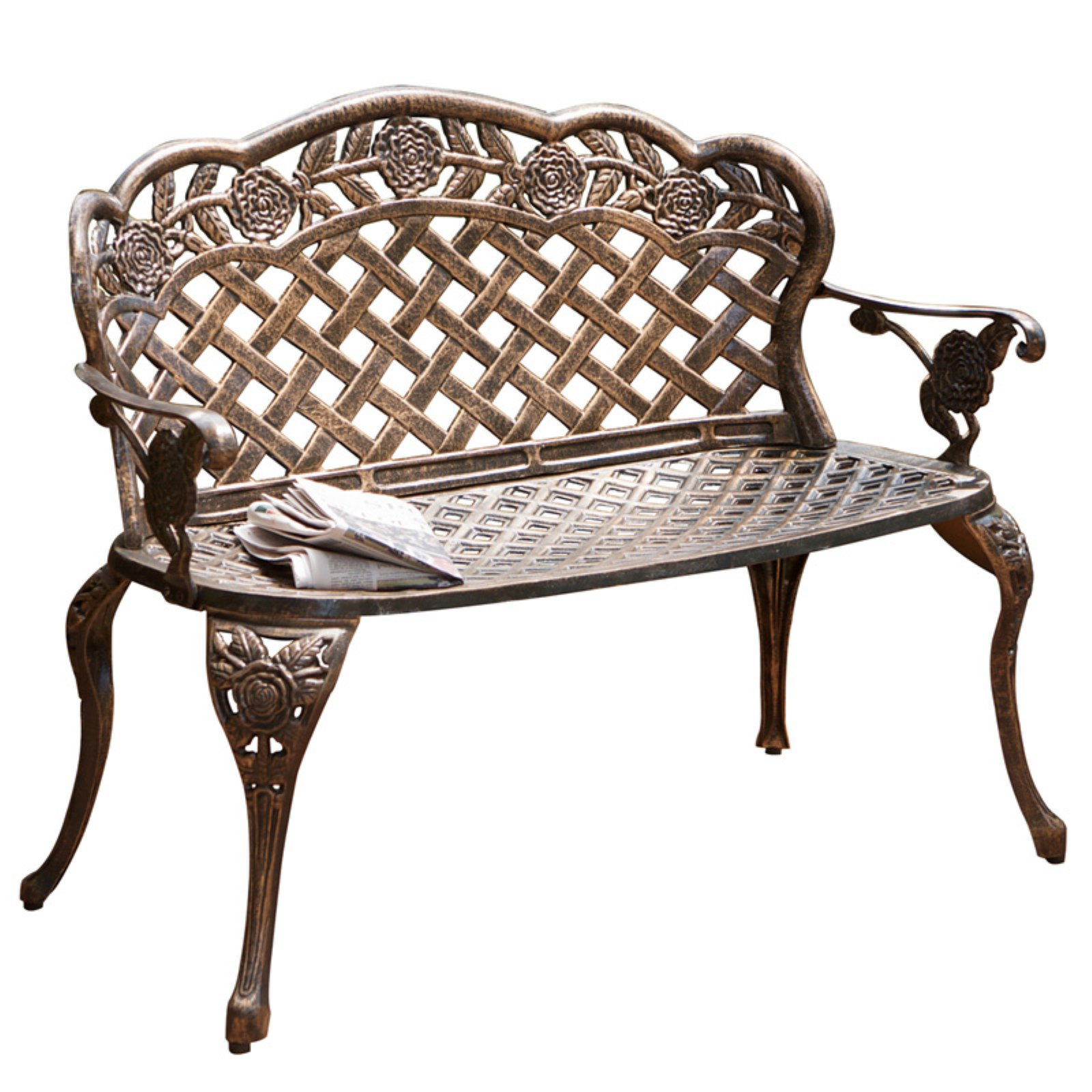 Rose and Lattice Cast Aluminum Antique Copper Curved Garden Bench