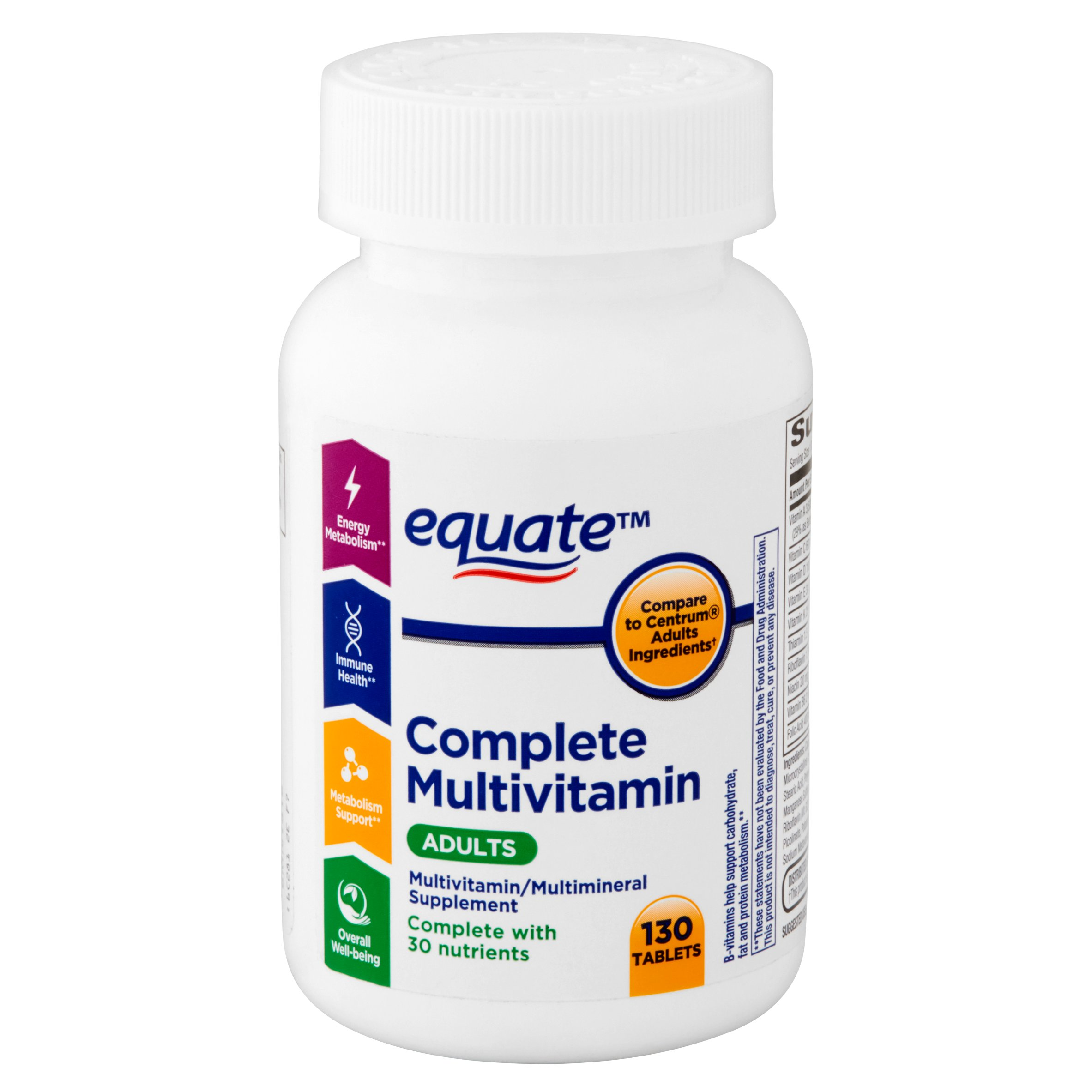 equate complete multivitamin tablets, adults,130 count - walmart