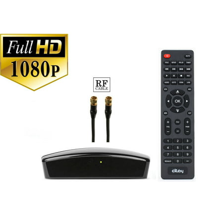 Digital Converter Box + RF Cable Bundle To View and Record Over The Air HD Channels For FREE (Instant or Scheduled Recording, 1080P HDTV, High Resolution, HDMI Output And 7 Day Program (Channel Guide For Over The Air Tv)