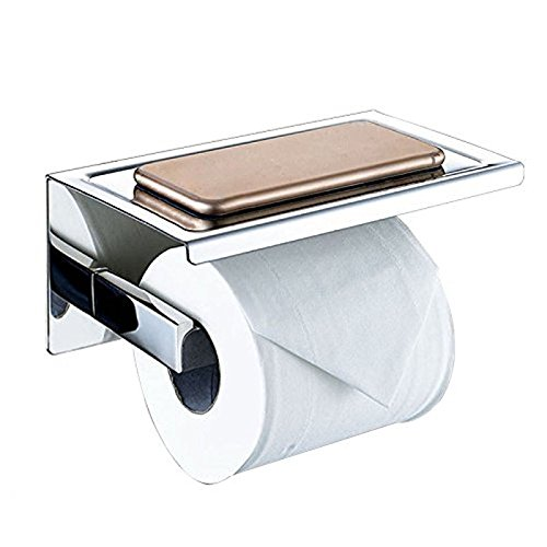 Self Adhesive SUS 304 Stainless Steel Toilet Paper Holder Storage Bathroom Kitchen Paper Towel Dispenser Stick by Generic