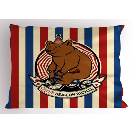 Bear Pillow Sham Circus Bear on Bicycle Carnival Theme Cute Mascot with Hat on Striped Backdrop, Decorative Standard King Size Printed Pillowcase, 36 X 20 Inches, Ruby Blue Brown, by Ambesonne - Circus Themed Backdrop