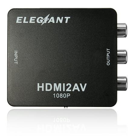 ELEGIANT Mini HD MI to RCA Audio Video AV CVBS HD TV Adapter,USB 720p/1080P,Apply to camera, hdtvconverter DVD, Displayer, Earphone, -