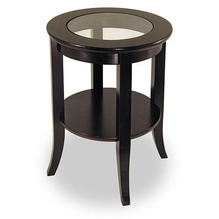 Genoa Round End Table with Glass Top  Espresso. Genoa Round End Table with Glass Top  Espresso   Walmart com