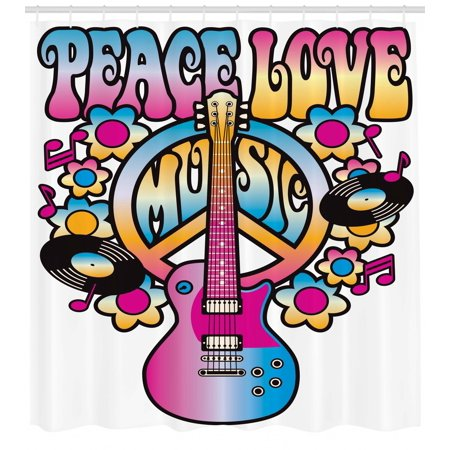 Groovy Shower Curtain Peace Love Music Text With Symbol Guitar Records Flowers Musical Notes