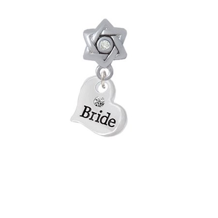 Small Bride Heart   Star Of David With Clear Crystal Charm Bead