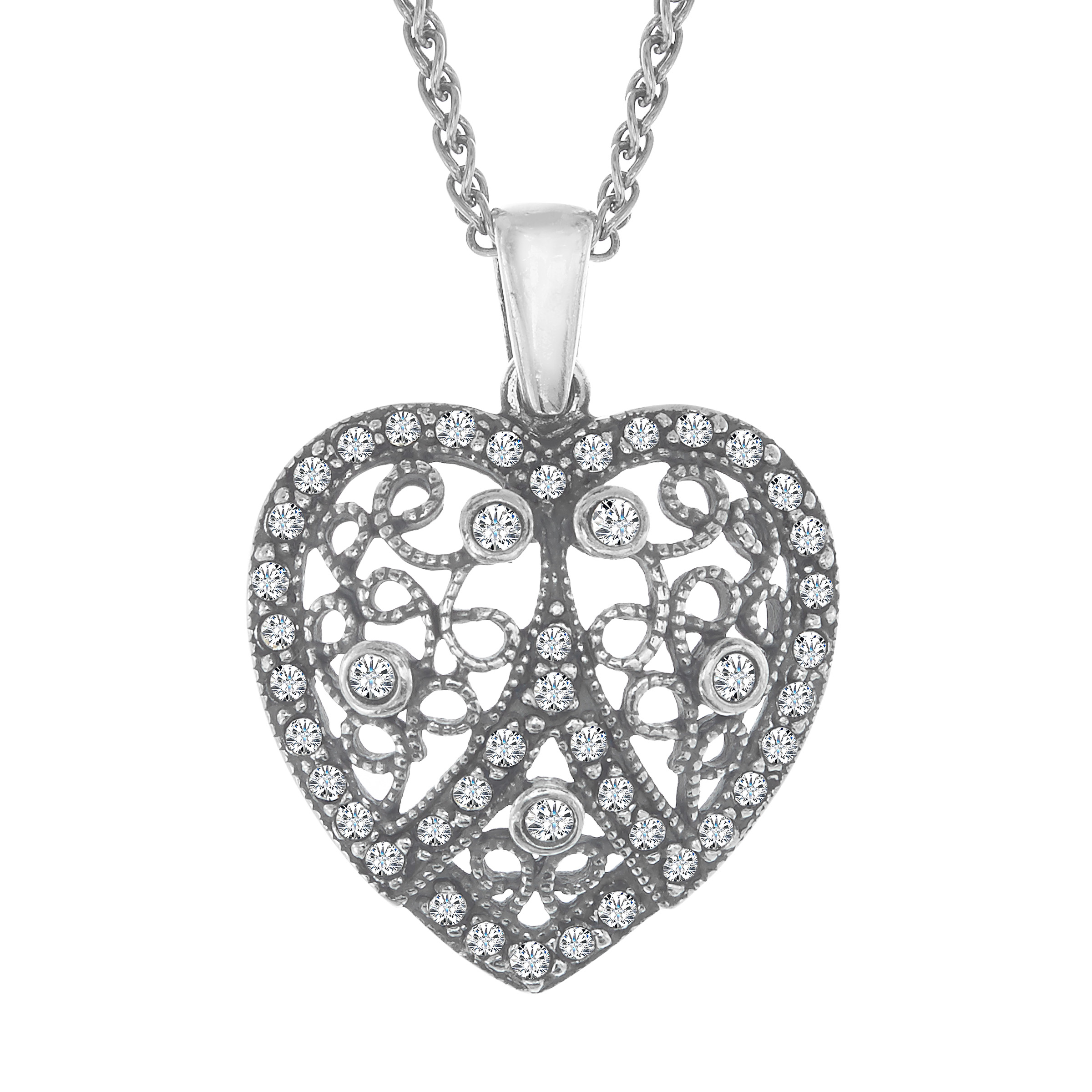 Van Kempen Art Nouveau Heart Pendant with Swarovski Crystals in Sterling Silver