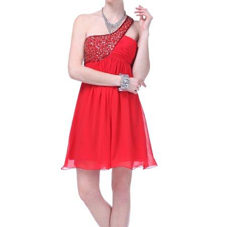 Elegant One Shoulder Beaded Pleated Short Formal Dress