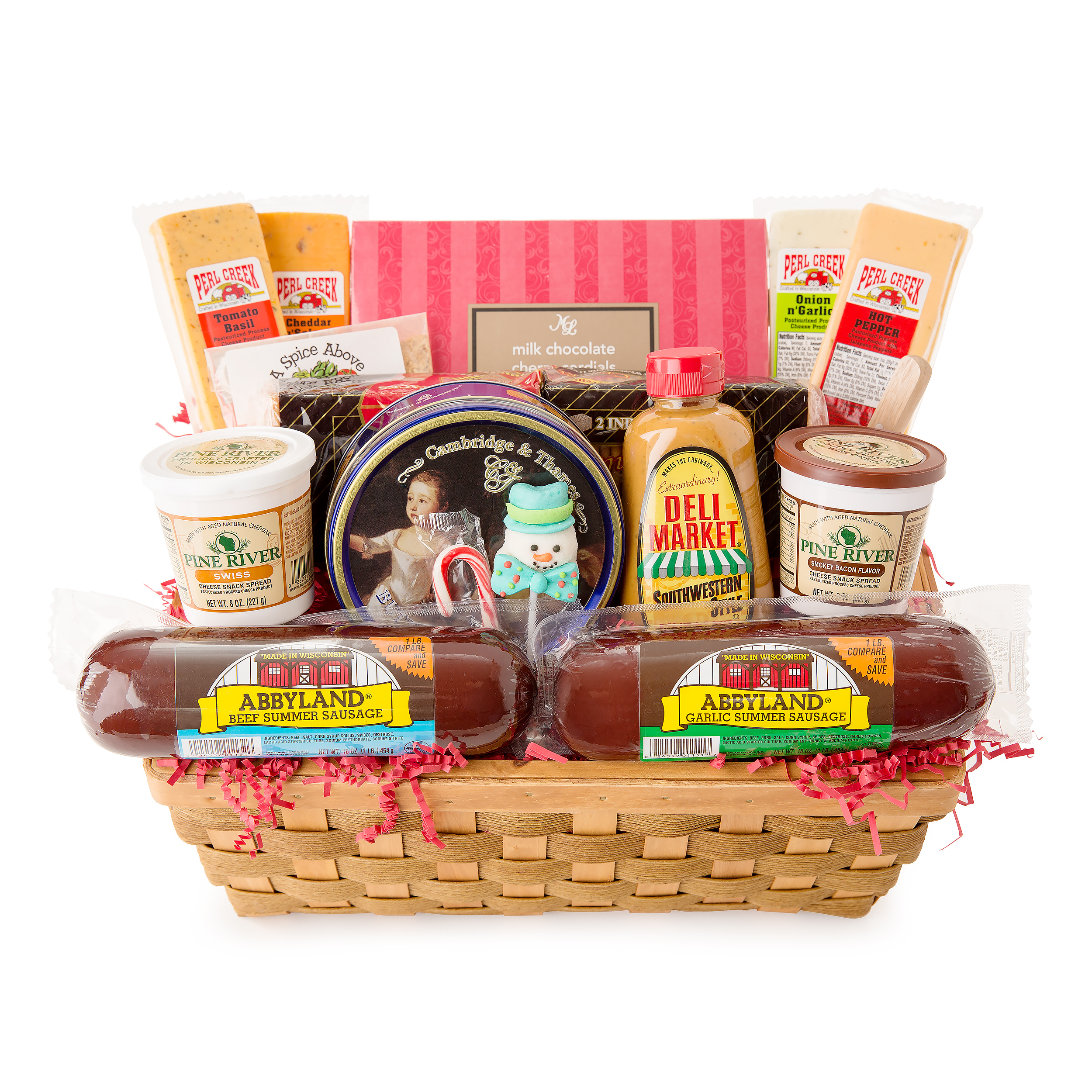 Holiday Party Favorites Gourmet Summer Sausage and Cheese Large Gift Basket by CC Home Furnishings